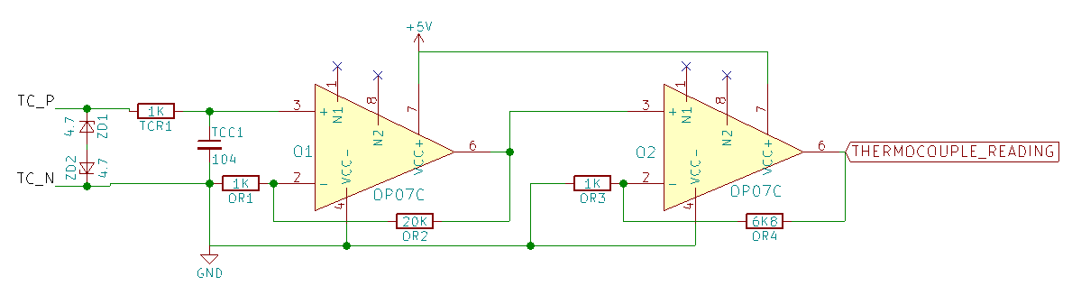 OP07 based thermocouple signal amplifier