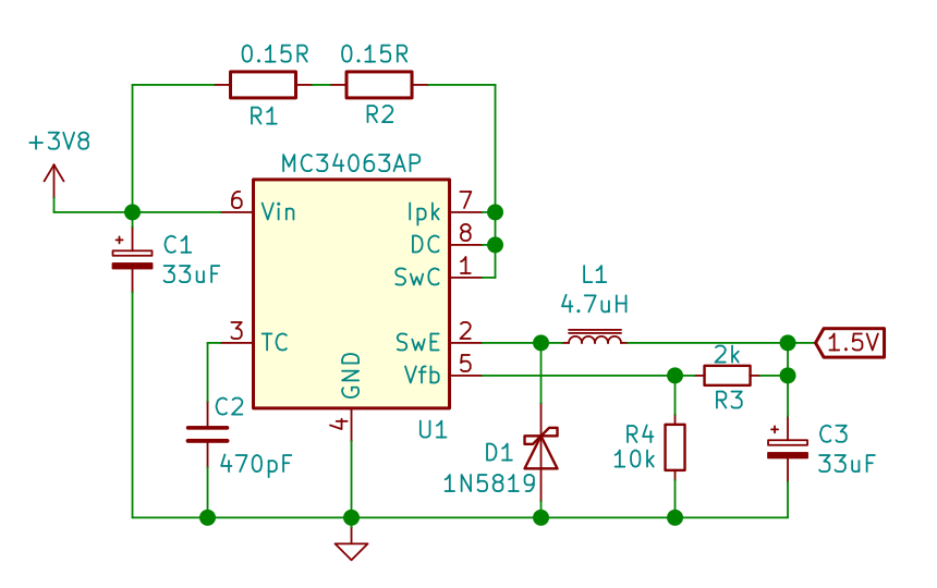 MC34063A - 3.7 to 1.5 V buck converter schematic