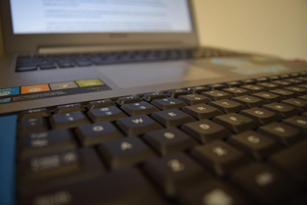 The laptop on a desktop